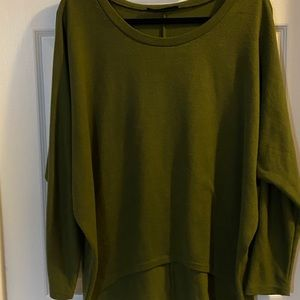 Oversize Olive tunic with high low hem